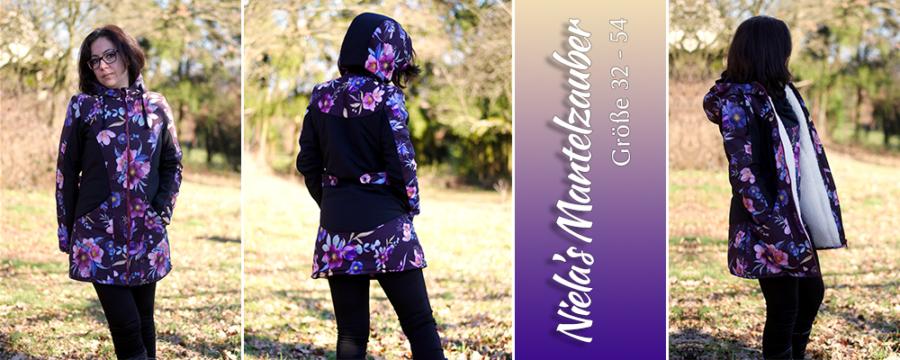 Junge Frau in einem Blumenmantel, nach dem Schnitt: Niela's Mantelzauber